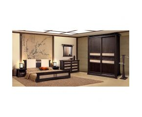 Набор Киото (кровать,2 тумбы,шкаф,комод,зеркало)