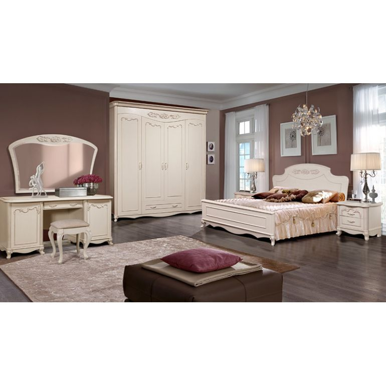 Набор Валенсия (кровать,2 тумбы,шкаф,стол,банкетка,зеркало)